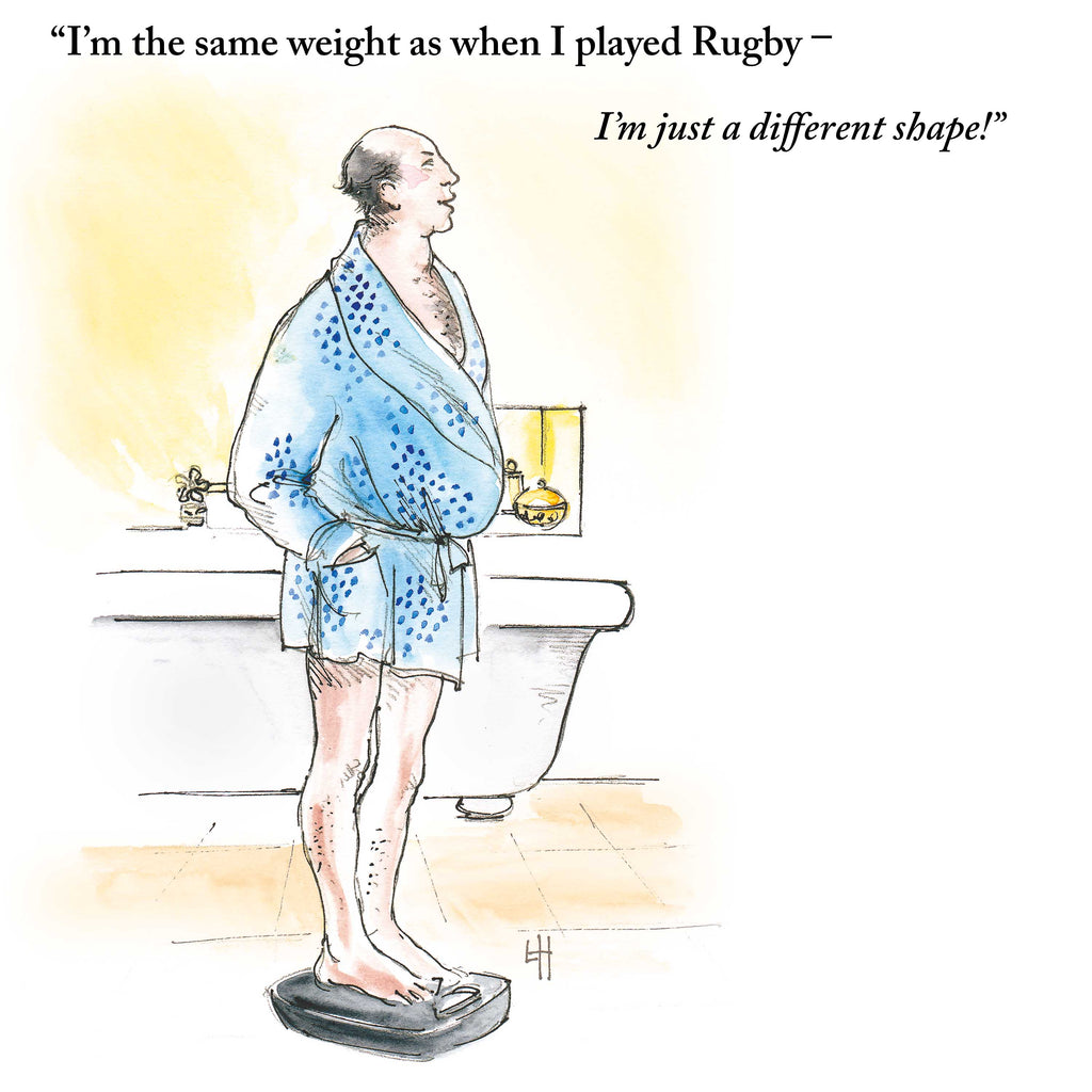 Middle=aged balding man in blue dressing gown is standing on scales in the bathroom. He's trying to pretend that all that's different about him compared to his Rugby days is his shape! is