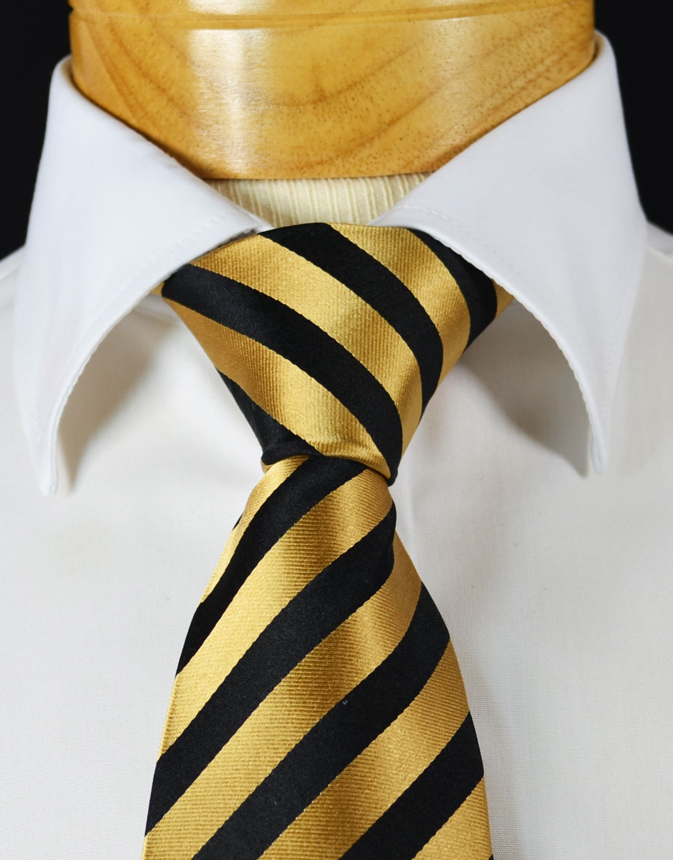 a62e2fbdaf93 Extra Long Gold and Black Striped Silk Necktie – BerlinBound