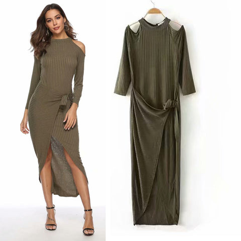 4b110caa4 2019 spring new European and American women's round neck leaking shoulder knit  dress bottoming skirt tight