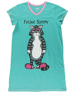 Feline Sleepy Cat V Neck PJ Night Shirt - Hobby Hill Farm