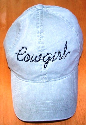 Cowgirl Embroidered Ball Cap - Hobby Hill Farm