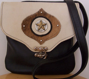 Crossbody Two Tone Leather Handbag w/ Two Tone Star Concho - Hobby Hill Farm