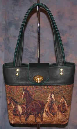 Paint Horses - Hunter Green Leather - Gold Scroll - Hobby Hill Farm