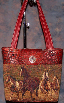 Paint Horses - Red Gator Leather - Silver Closure - Hobby Hill Farm