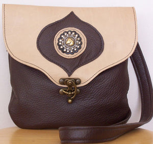 Crossbody Leather Handbag Brown with Horse Head - Hobby Hill Farm