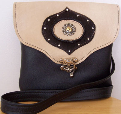 Crossbody Two Tone Leather Handbag w/Horse Medallion - Hobby Hill Farm