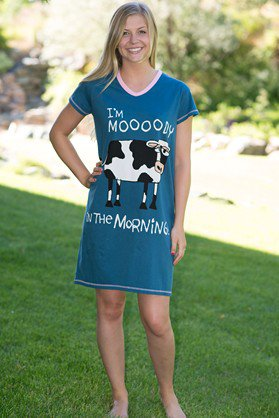 Moody in the Mornings V-Neck Nightshirt - Hobby Hill Farm