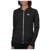 Charcoal Black Triblend SmithRock.com Lightweight Zipped Unisex Hoodie on female model