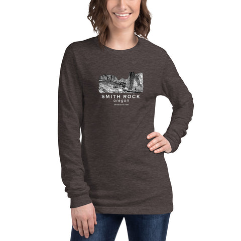 Smith Rock Canyon Graphic Novel Unisex Long Sleeve T-Shirt dark grey heather on model