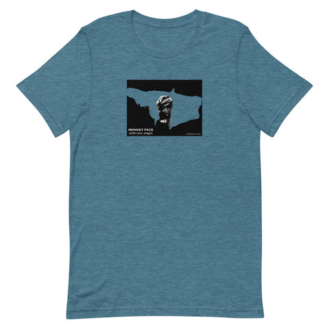 Monkey Face Window Graphic Novel Unisex T-Shirt heather deep teal