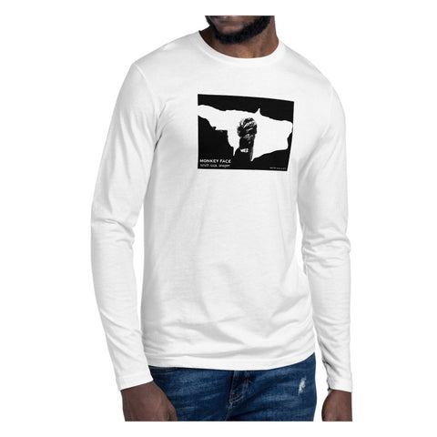 Monkey Face Window Graphic Novel Unisex Long Sleeve Fitted Crew (no cuffs) white on model