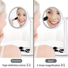 Load image into Gallery viewer, Select nice lighted makeup mirror mirror with cosmetic organizer tray 1x 3x magnification usb charging 270 degree adjustable led light makeup vanity for desk or tabletop white