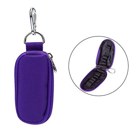 10 Compartment Portable Essential Oils Carrying Case Keychain Oil Bottle Holders Containers Roller Bottles Storage Carrier Bag Handheld Makeup Organizer - Purple