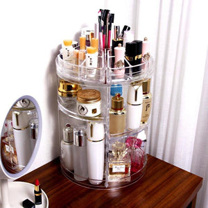 Jerrybox Acrylic Makeup Organizer 360-Degree Rotating Cosmetic Transparent Organizer