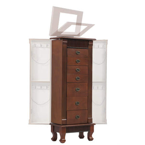 Results fdw jewelry cabinet jewelry chest jewelry armoire wood jewelry box storage stand organizer with side doors 7 drawers makeup mirror