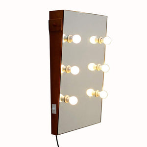 Top facilehome hollywood style solid wood wall mounted vanity mirror with led lights lighted makeup vanity mirrors with dimmer 6 bulbs
