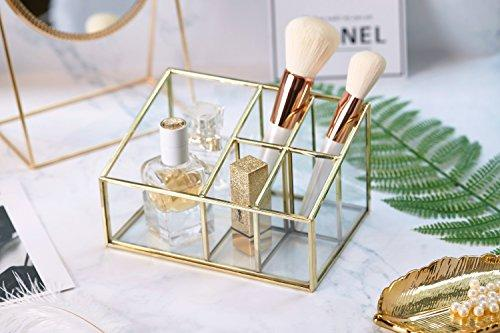 PuTwo Bathroom Storage 5 Sections Metal Glass Makeup Organizer Bathroom Decor Bathroom Organzier