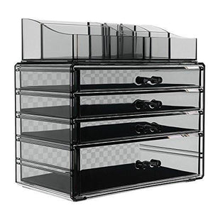 4 Drawers Makeup Organizer 2 Pieces Set Cosmetic Storage Display with 8 Top Compartments Checkered Design Back Smoky Gray