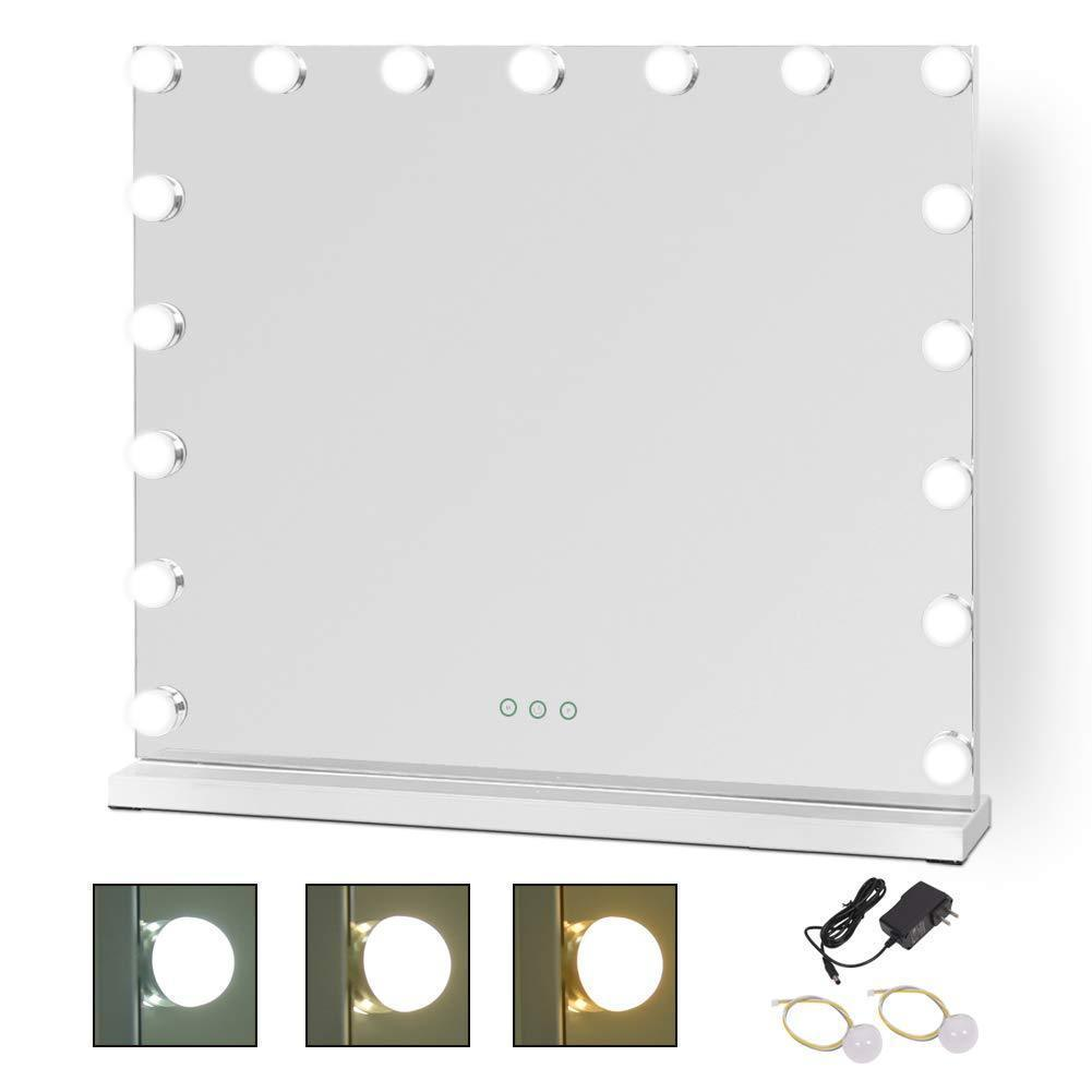 Cheap waytrim lighted vanity mirror hollywood style makeup cosmetic mirrors with 17 dimmable led bulbs 3 color lighting touch control design white