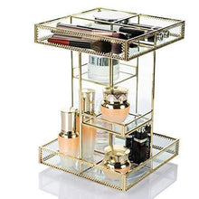 Load image into Gallery viewer, Cheap display4top antique makeup organizer 360 degree rotation adjustable jewelry retro countertop cosmetic storage box for brushes lipsticks skincare toner perfume vanity display gold