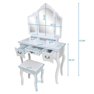 Buy now azadx makeup table set tri folding mirror vanity table set dressing table organizers with cushioned stool bedroom white 5 drawer