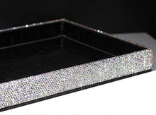 Load image into Gallery viewer, Heavy duty bestblingbling classic bling rhinestone jewelry or makeup storage box organizer display storage case with lock for desk or table silver