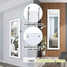 Load image into Gallery viewer, Top homevibes jewelry cabinet jewelry armoire 6 leds mirrored makeup lockable door wall mounted jewelry organizer hanging storage mirror with 2 drawers white