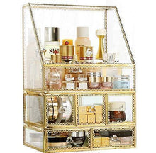 Load image into Gallery viewer, Products pengke x large gold makeup organizers dust proof cosmetic and jewelry storage case with 5 drawers 10 3x7 7x15 4 pack of 1
