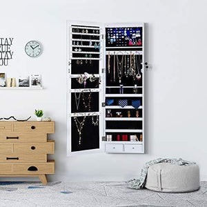 Top rated homevibes jewelry cabinet jewelry armoire 6 leds mirrored makeup lockable door wall mounted jewelry organizer hanging storage mirror with 2 drawers white