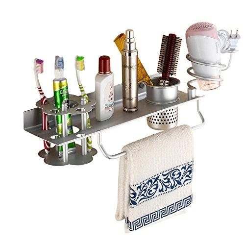 Bathroom Hair Dryer Holder Hair Blow Dryer Comb Holder Organizer Shelf Rack Stand Wall Mounted Hanging Rack with Cup Space Aluminum (with Toothbrush Holder)