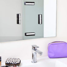 Load image into Gallery viewer, Featured leopara makeup lighting system portable vanity lights professional lighting for any mirror travel friendly rechargeable onyx chrome