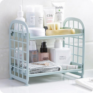 Multifunction Double Layer Sundries Storage Holder Rack For Kitchen Bathroom Desktop Makeup Organizer Display