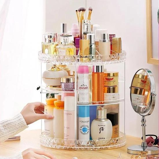 360° Rotating Crystal Cosmetic Storage Box——Free shipping