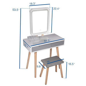 Get vanity table set with adjustable brightness mirror and cushioned stool dressing table vanity makeup table with free make up organizer