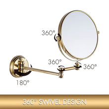 Load image into Gallery viewer, Explore makeup mirror wall mount 8 inch dual side with 1x 5x magnification bathroom magnifying mirror two side 360 swivel cosmetic face mirror extendable vanity mirrors luxury brass gold marmolux acc