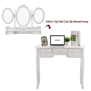Kitchen honbay trifold mirrors makeup vanity table set cushioned stool and surprise gift makeup organizer with 7 drawers dressing table white
