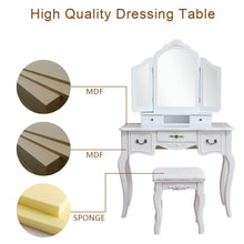Load image into Gallery viewer, Budget azadx makeup table set tri folding mirror vanity table set dressing table organizers with cushioned stool bedroom white 5 drawer
