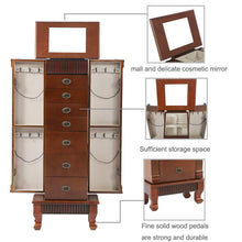 Load image into Gallery viewer, Save fdw jewelry cabinet jewelry chest jewelry armoire wood jewelry box storage stand organizer with side doors 7 drawers makeup mirror
