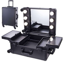 Load image into Gallery viewer, Organize with chende black pro studio artist train rolling makeup case with light wheeled organizer hollywood vanity set with mirror lights for dressing room black