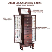 Load image into Gallery viewer, Save on giantex standing jewelry armoire cabinet storage chest with 7 drawers 2 swing doors 12 necklace hooks makeup mirror and top divided storage organizer large standing jewelry armoire