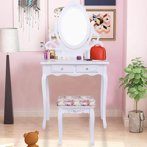 Buy casart vanity dressing table with mirror and stool 360 rotating oval makeup mirror classic style delicate carved cushioned benches wood legs vanity tables with divided drawers white
