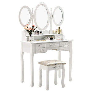 Online shopping honbay trifold mirrors makeup vanity table set cushioned stool and surprise gift makeup organizer with 7 drawers dressing table white