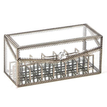 Load image into Gallery viewer, Top rated j c antique large 4 tier clear glass with brass metal cosmetic makeup storage cube organizer with 6 drawers each of which can be used individually by jc trapeziod