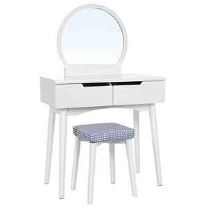 Products vasagle vanity table set with round mirror 2 large drawers with sliding rails makeup dressing table with cushioned stool white urdt11w