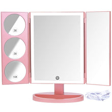 Load image into Gallery viewer, Kitchen mirrorvana xlarge vanity mirror with lights extravagant trifold led lighted makeup mirror with 3x 5x 10x magnification bonus usb cable 2018 xlarge rose gold model