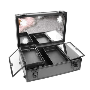Shop here luvodi professional 3 in1 rolling makeup train case with mirror and dimmable lights cosmetic vanity trolley studio jewelry organizer luggage wheeled box for mua show travel business