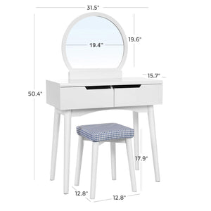 Related vasagle vanity table set with round mirror 2 large drawers with sliding rails makeup dressing table with cushioned stool white urdt11w