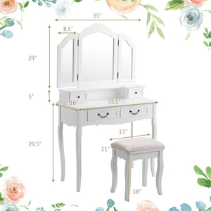 Best charmaid vanity set with tri folding mirror and 4 drawers makeup dressing table with cushioned stool makeup vanity set for women girls bedroom makeup table and stool set white