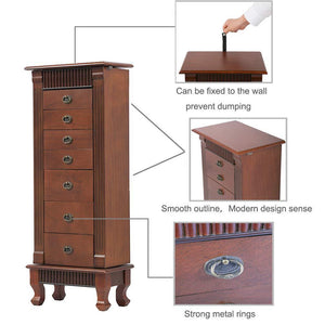 Save on fdw jewelry cabinet jewelry chest jewelry armoire wood jewelry box storage stand organizer with side doors 7 drawers makeup mirror