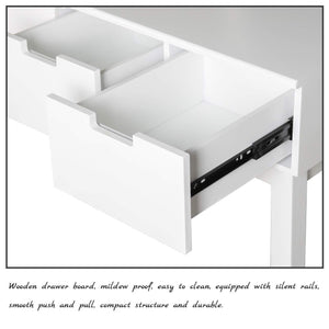 Related vanity beauty station dresing table vanity set with flip top mirror 1 large organization 2 drawers makeup dresser writing desk white flip mirror